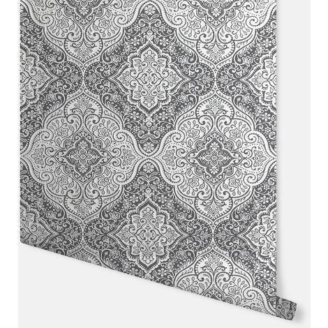 Luxe Medallion Black & Silver Wallpaper - Arthouse - 295700