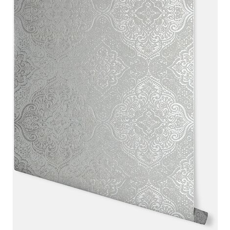 Luxe Medallion White & Silver Wallpaper - Arthouse - 295701