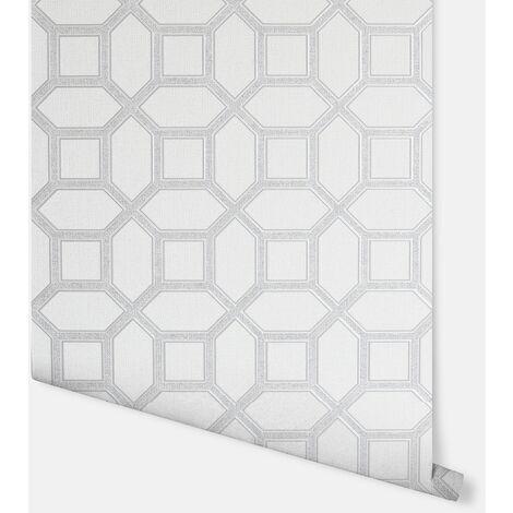 Luxe Origin White & Silver Wallpaper - Arthouse - 295603