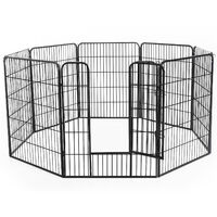 Luxe parc enclos modulable acier 8 panneaux et 1 porte pour chiens 80L x 100H cm noir