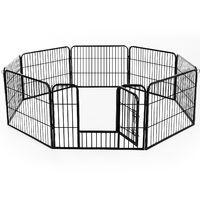 Luxe parc enclos modulable acier 8 panneaux et 1 porte pour chiens 80L x 60H cm noir