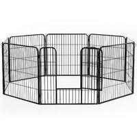 Luxe parc enclos modulable acier 8 panneaux et 1 porte pour chiens 80L x 80H cm noir