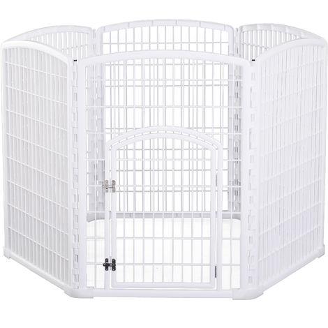 Luxe parc enclos modulable pour chien 6 panneaux + 1 porte verrouillable plastique PP blanc