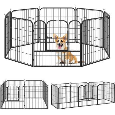 Luxe parc enclos modulable pour chien acier époxy noir