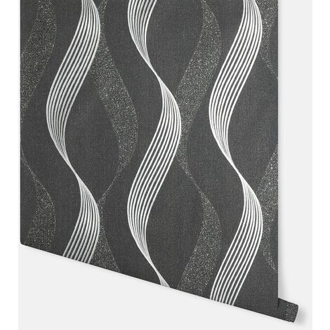 Luxe Ribbon Black & Silver Wallpaper - Arthouse - 295500