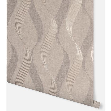 Luxe Ribbon Mocha Wallpaper - Arthouse - 295501
