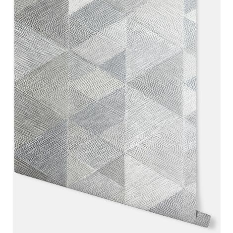 Luxe Triangle Silver Wallpaper - Arthouse - 295902
