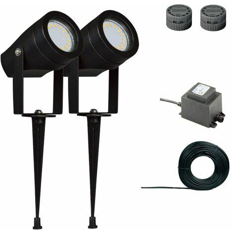 Luxform Conjunto de focos de jardín Esperance 2 uds. 12 V negro 81205