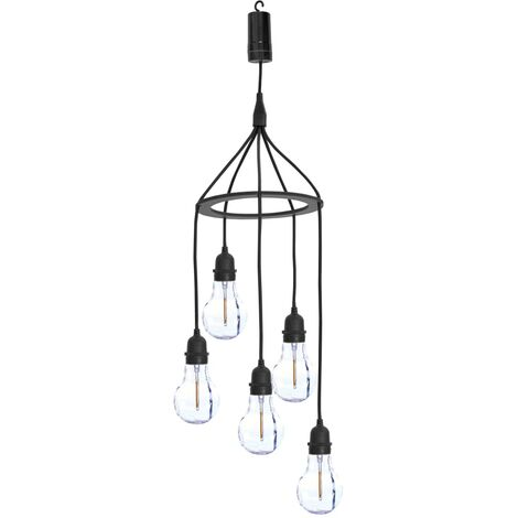 Luxform Lámpara colgante LED con 5 luces a pilas Hubble - Negro