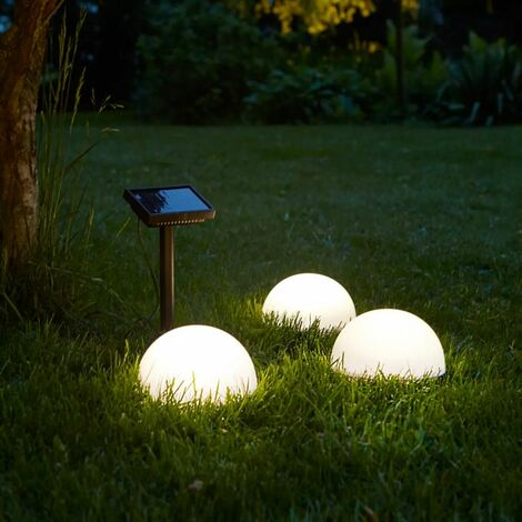 Luxform Lampe LED solaire de jardin Clervaux 3 pcs Semi-globe 40300