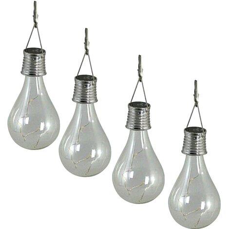 Luxform Luces de fiesta LED solares de jardín 4 pzas transparente 95420