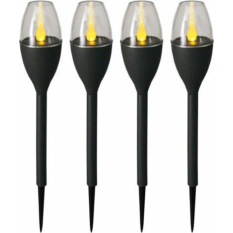 Luxform Minibaliza solar LED de jardín Jive 4 uds. gris 41466