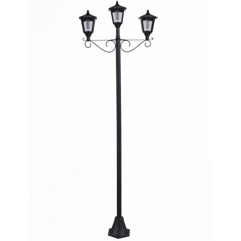 Luxform Solar LED Garden Post Lamp with 3 Lanterns Brooklyn Black - Black