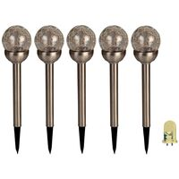 Luxform Solar LED Garden Stake Light Bolero 5pcs Stainless Steel 31565
