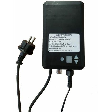 Luxform Transformador de tensión de exterior con temporizador 60W 12V
