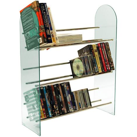LUXOR - 3 Tier 171 CD / 117 DVD Media Storage Shelf Rack - Glass / Chrome