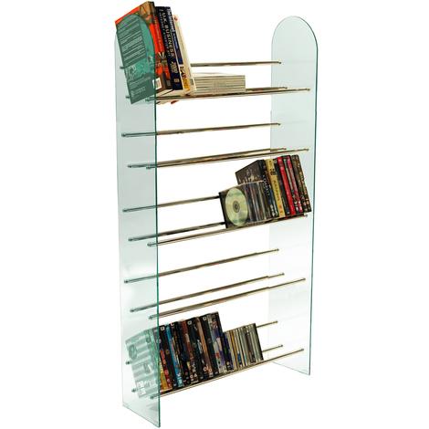 LUXOR - 5 Tier 285 CD / 195 DVD Media Storage Shelf Rack - Glass / Chrome