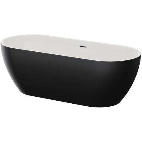 Luxor Black Double Ended Freestanding Bath 1650mm x 700mm