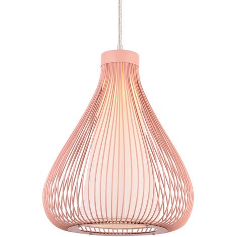 Lámpara de techo tipo colgante con pantalla decorativa metálica - colgante moderna - rosado (E27)