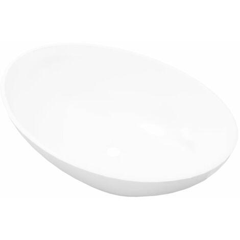 Lavabo en Forme Ovale Céramique Blanc Lave-mains Vasque Salle de Bain