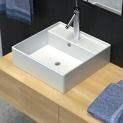 Luxueuse vasque céramique carrée avec trop plein 41 x 41 cm