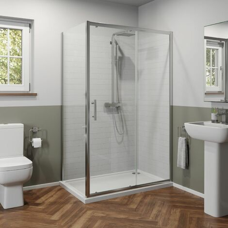 Luxura 1200 x 760mm Sliding Shower Door & Side Panel - 6mm Glass