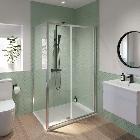 Luxura 1400 x 800mm Sliding Shower Door & Side Panel - 6mm Glass