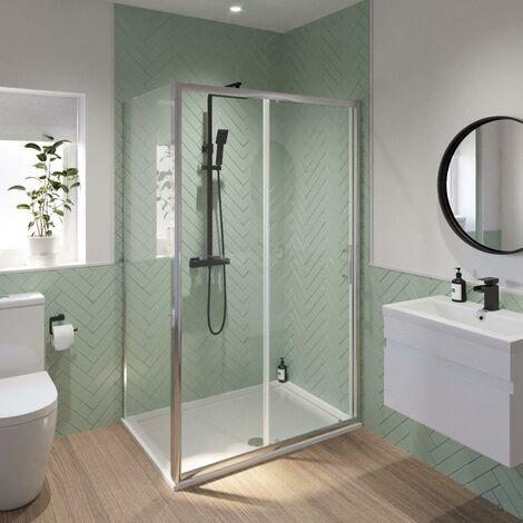 Luxura 1400 x 900mm Sliding Shower Door & Side Panel - 6mm Glass