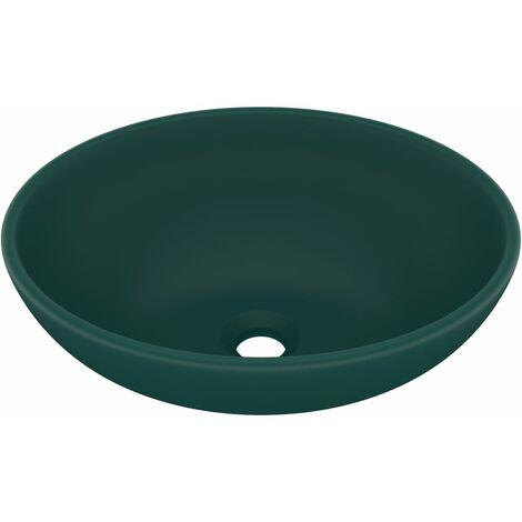 Luxuriöses Ovales Waschbecken Matt Dunkelgrün 40x33 cm Keramik