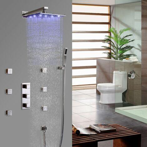 Luxuriöses thermostatisches Duschsystem mit quadratischer LED-Brause in gebürstetem Nickel