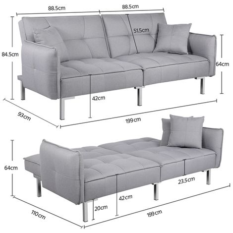 Luxury 3 Seater Fabric Sofa Bed Recliner Couch Lounge for Living Room with Cushions Grey