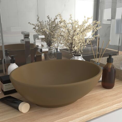 Luxury Basin Oval-shaped Matt Cream 40x33 cm Ceramic