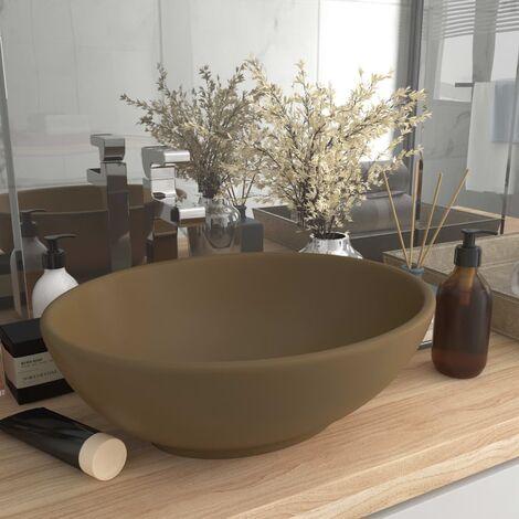 Luxury Basin Oval-shaped Matt Cream 40x33 cm Ceramic - Cream