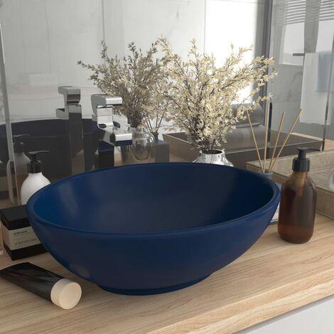 Luxury Basin Oval-shaped Matt Dark Blue 40x33 cm Ceramic - Blue