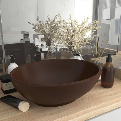 Luxury Basin Oval-shaped Matt Dark Brown 40x33 cm Ceramic - Brown
