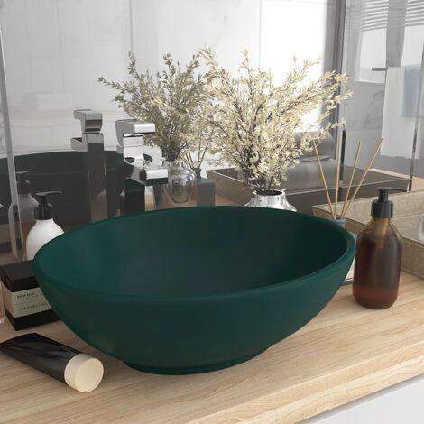 Luxury Basin Oval-shaped Matt Dark Green 40x33 cm Ceramic - Green