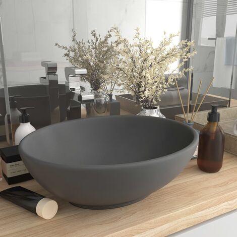 Luxury Basin Oval-shaped Matt Dark Grey 40x33 cm Ceramic