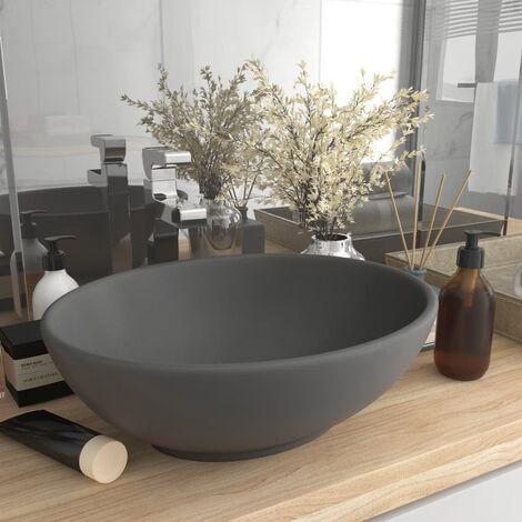 Luxury Basin Oval-shaped Matt Dark Grey 40x33 cm Ceramic - Grey