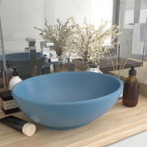 Luxury Basin Oval-shaped Matt Light Blue 40x33 cm Ceramic