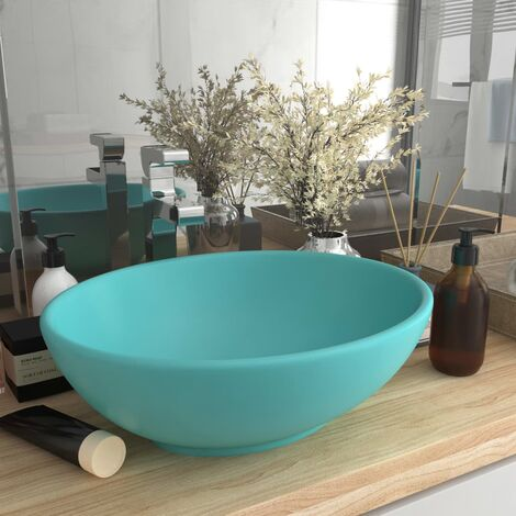 Luxury Basin Oval-shaped Matt Light Green 40x33 cm Ceramic