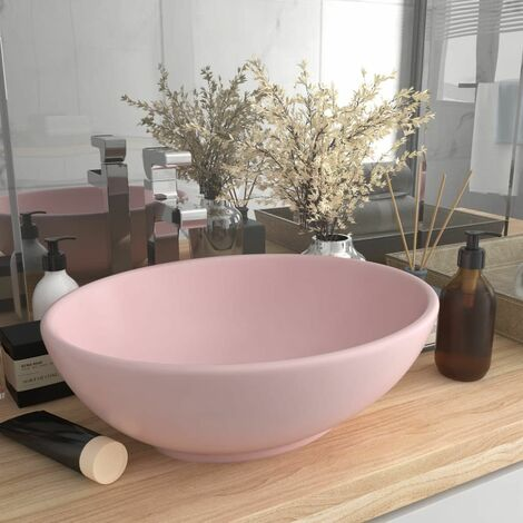 Luxury Basin Oval-shaped Matt Pink 40x33 cm Ceramic - Pink
