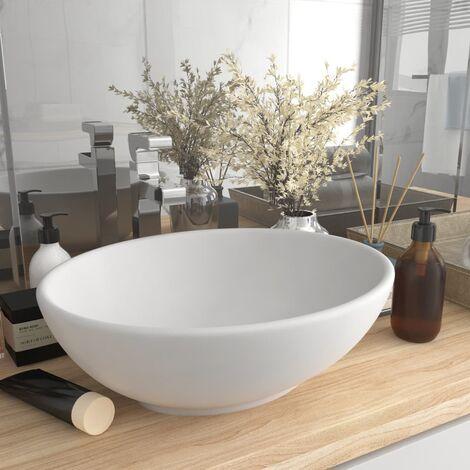 Luxury Basin Oval-shaped Matt White 40x33 cm Ceramic