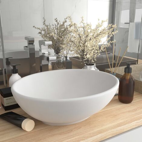 Luxury Basin Oval-shaped Matt White 40x33 cm Ceramic - White