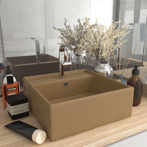 Luxury Basin Overflow Square Matt Cream 41x41 cm Ceramic - Cream