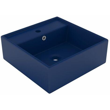Luxury Basin Overflow Square Matt Dark Blue 41x41 cm Ceramic - Blue