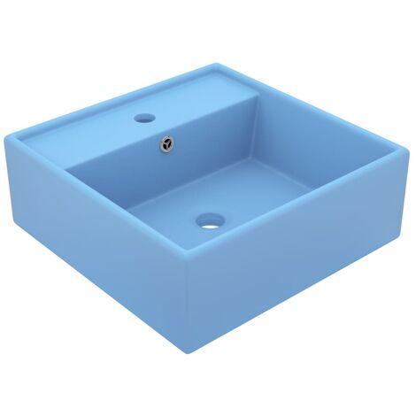Luxury Basin Overflow Square Matt Light Blue 41x41 cm Ceramic - Blue