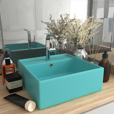 Luxury Basin Overflow Square Matt Light Green 41x41 cm Ceramic - Green