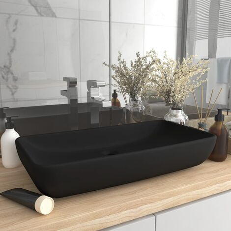 Luxury Basin Rectangular Matt Black 71x38 cm Ceramic