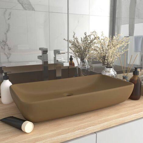 Luxury Basin Rectangular Matt Cream 71x38 cm Ceramic - Cream