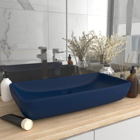 Luxury Basin Rectangular Matt Dark Blue 71x38 cm Ceramic